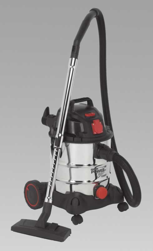 Vacuum Cleaner Industrial 20ltr 1400W/230V Stainless Bin Auto Start
