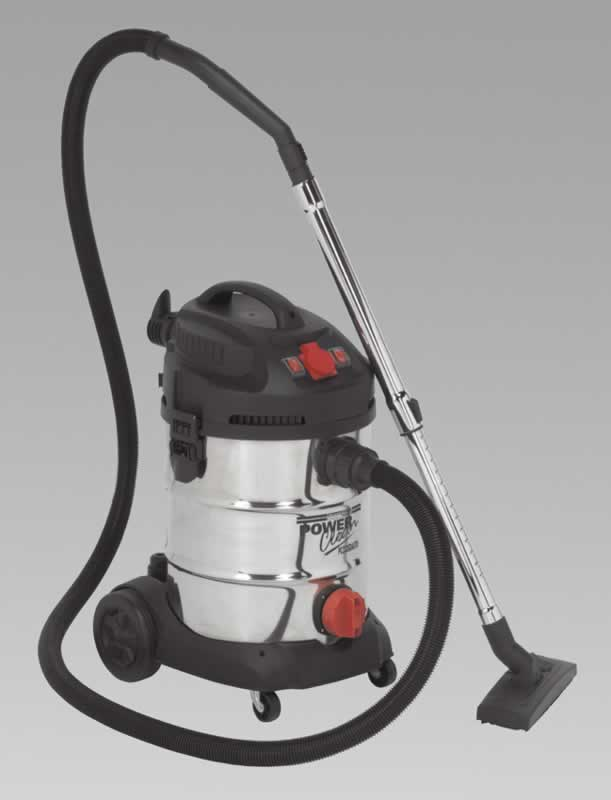 Vacuum Cleaner Industrial 30ltr 1400W/230V Stainless Bin Auto Start