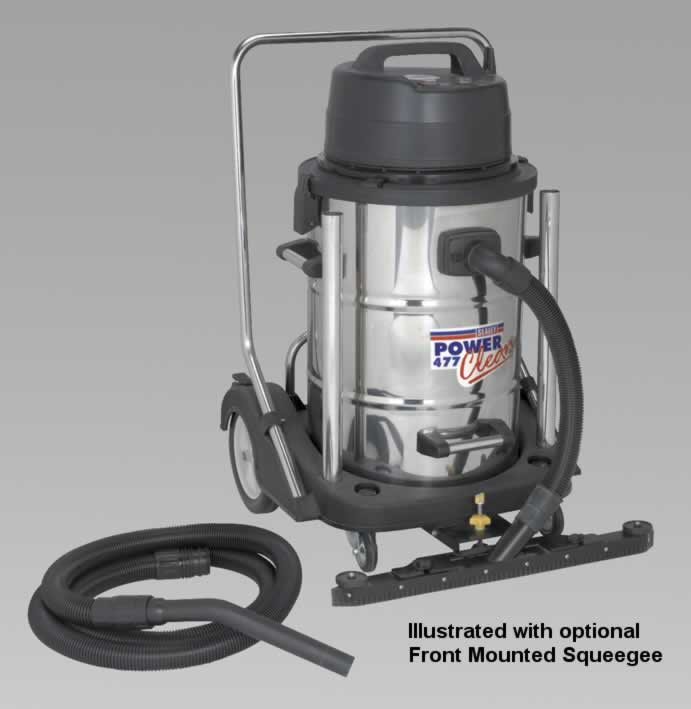 Industrial Wet & Dry Vacuum Cleaner 77ltr Stainless Drum 2400W/230V Swivel Bin Empty