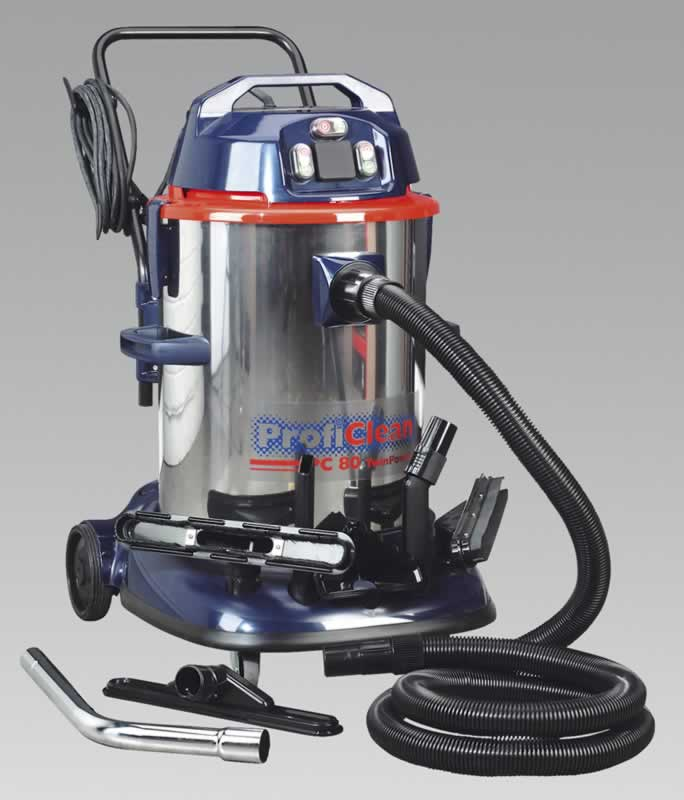 Vacuum Cleaner Industrial Wet & Dry Twin Motor 80ltr 1200/2400W/230V