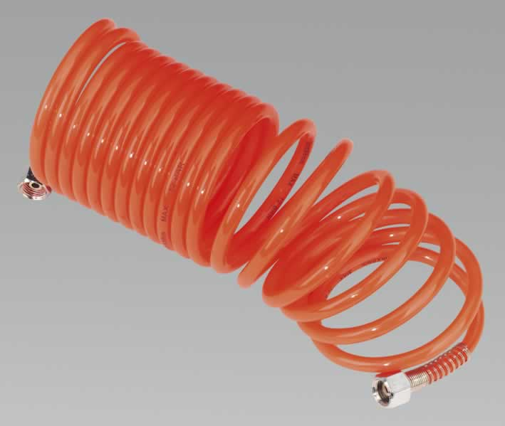 "Coiled Air Hose 5mtr Ø5mm with 1/4""BSP Unions"