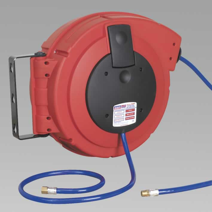 Retractable Air Hose Reel HD Mechanism 10mtr Ø10mm ID Polyurethane Hose