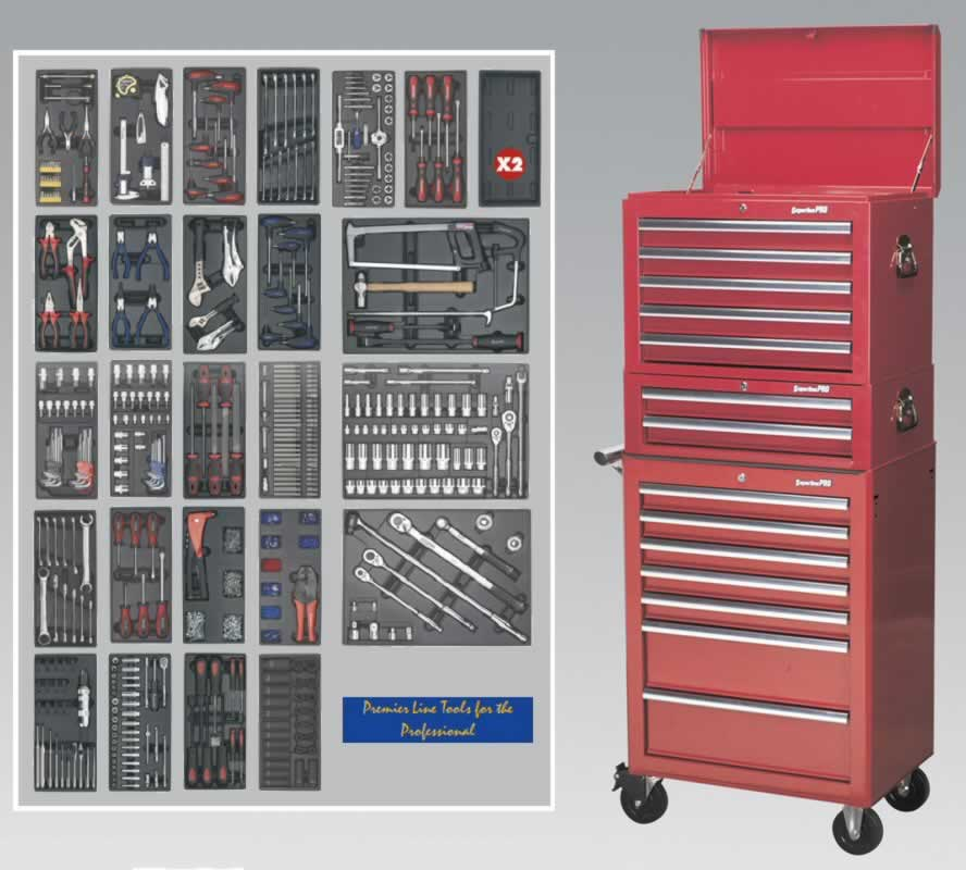 14 Drawer Toolchest Combination - Ball Bearing Runners - Red  with 1179pc Tool Kit  (AHA)