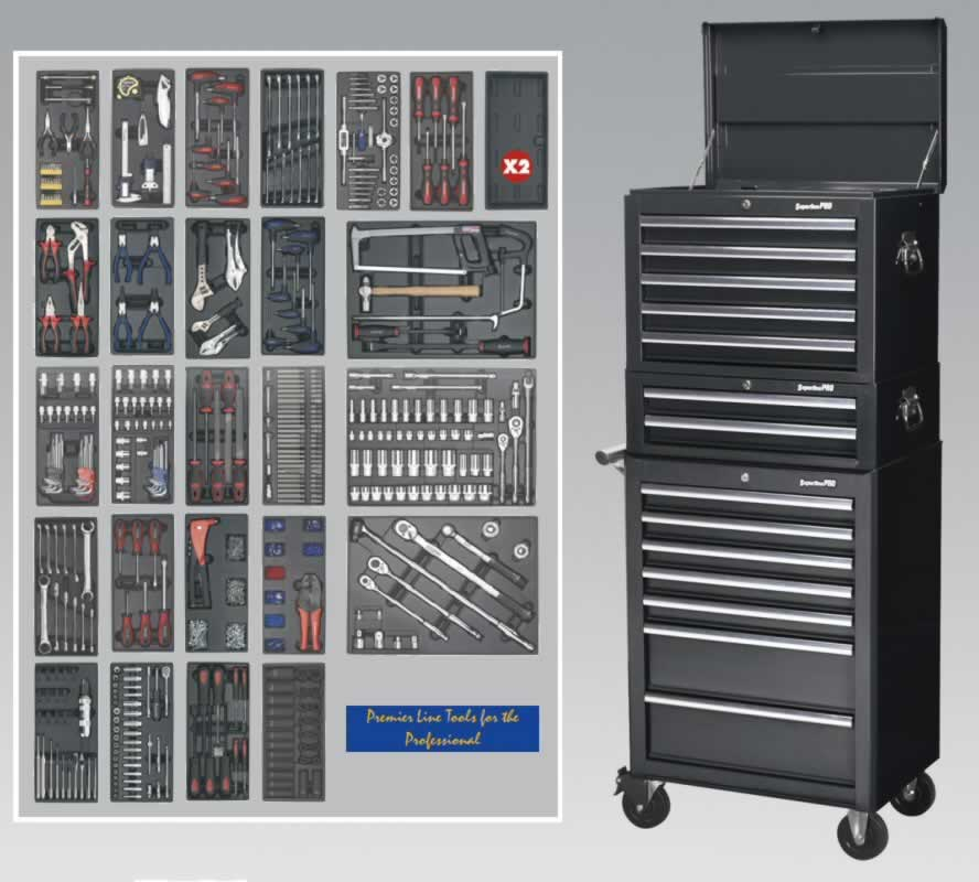 14 Drawer Toolchest Combination - Ball Bearing Runners - Black with 1179pc Tool Kit  (AHA)