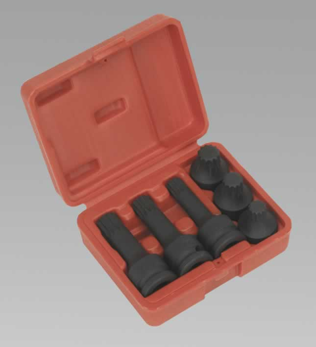 "Impact Spline Socket Set 1/2""Sq Drive 6pc"