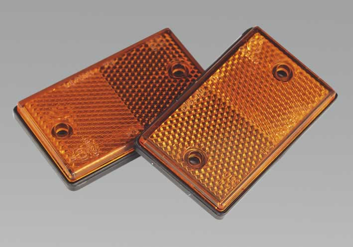 Reflex Reflector Amber Oblong Pack of 2