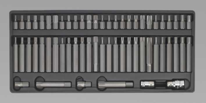 Tool Tray with Ribe/Spline/Hex/Security TRX-Star Bit Set 60pc