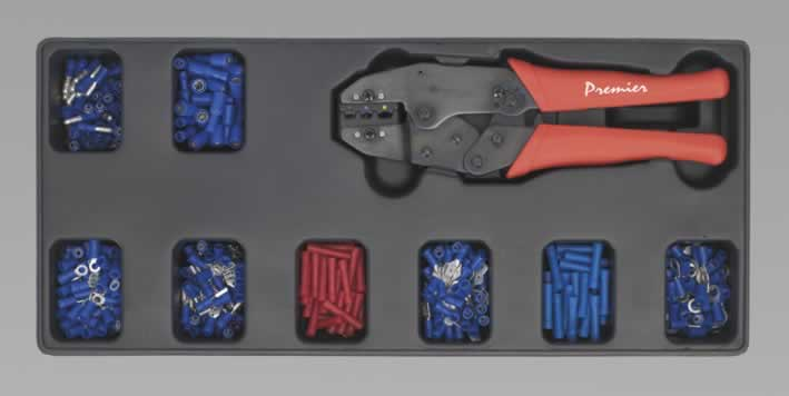 Tool Tray with Ratchet Crimper & 325 Assorted Insulated Terminal Set  (AHA)