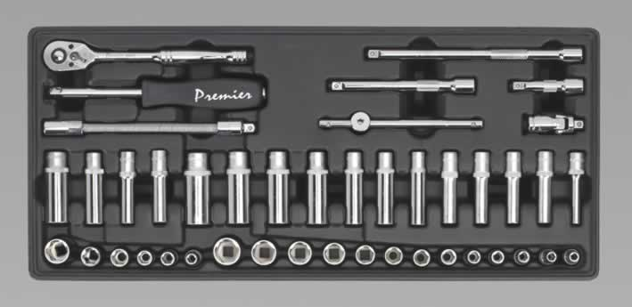 "Tool Tray with Socket Set 1/4""Sq Drive 43pc"
