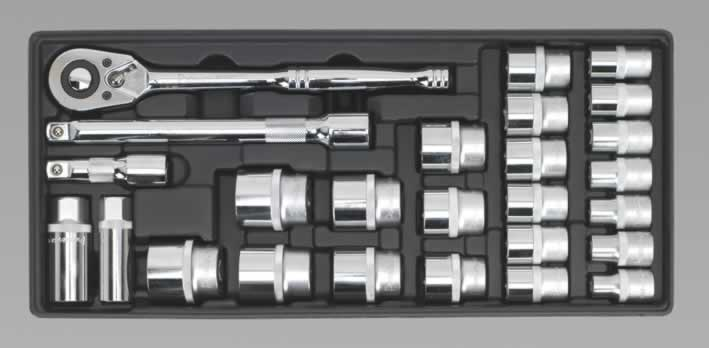 "Tool Tray with Socket Set 1/2""Sq Drive 26pc"