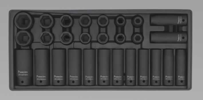 "Tool Tray with Impact Socket Set 1/2""Sq Drive 28pc"