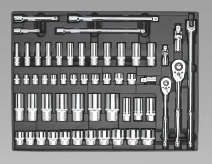 "Tool Tray with Socket Set 3/8"" & 1/2""Sq Drive 55pc"