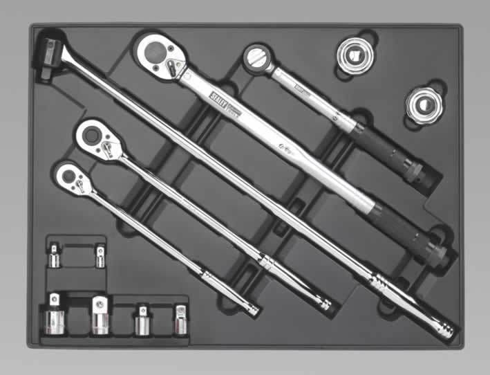 Tool Tray with Ratchet, Torque Wrench, Breaker Bar  Socket Adaptor Set 13pc