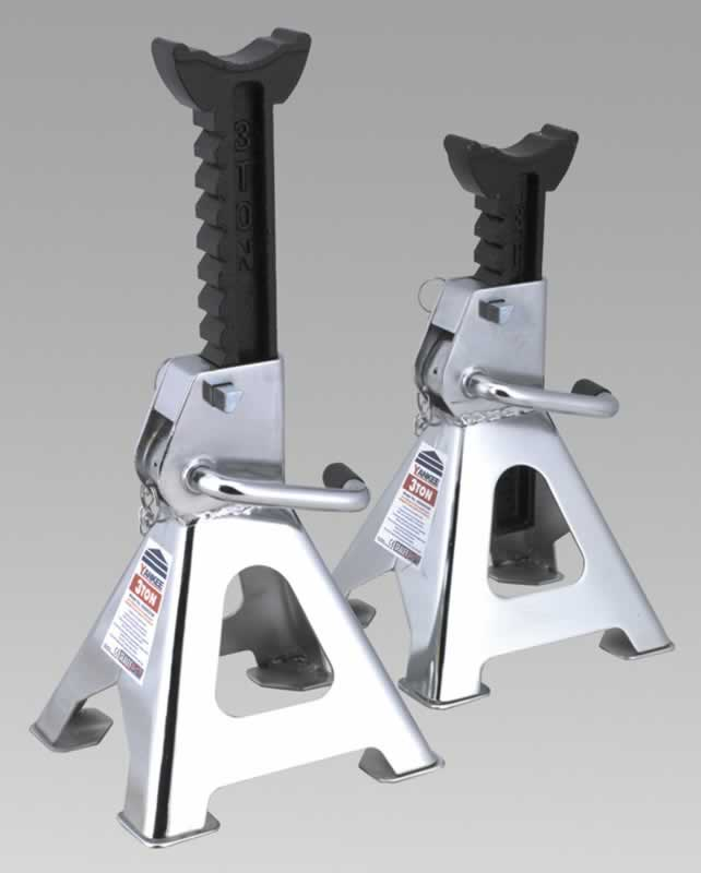 Axle Stands 3tonne Capacity Each 6tonne per Pair GS/TUV Chrome Plated