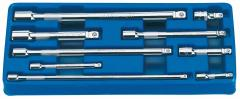 "EXPERT 9 PIECE 1/4"" 3/8"" & 1/2"" SQUARE DRIVE WOBBLE EXTENSION BAR SET"