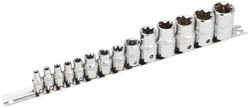 "EXPERT 14 PIECE SET OF DRAPER TX-STAR SOCKETS ON A RAIL 1/2""-1/4""(ah)"