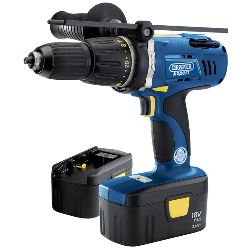 EXPERT 18V ELECTRONIC CORDLESS COMBINATION HAMMER DRILL WITH TWO BATTERIES   (AHA)