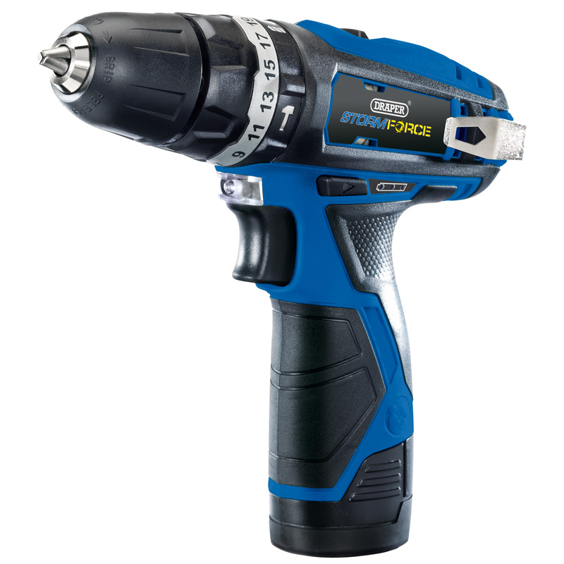 NEW Storm Force® 10.8V Cordless Hammer Drill with Two Li-ion Batteries    (AHc)