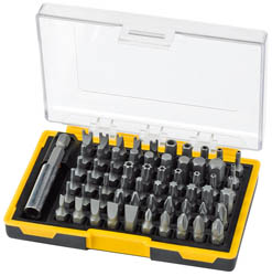 "selection of popular 61pc security bits 1/4"" bit holder. Display packed in handy case  (AH)."