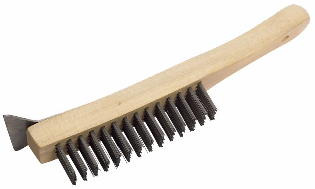 EXPERT 4 ROW HEAVY DUTY WIRE SCRATCH BRUSH WITH SCRAPER