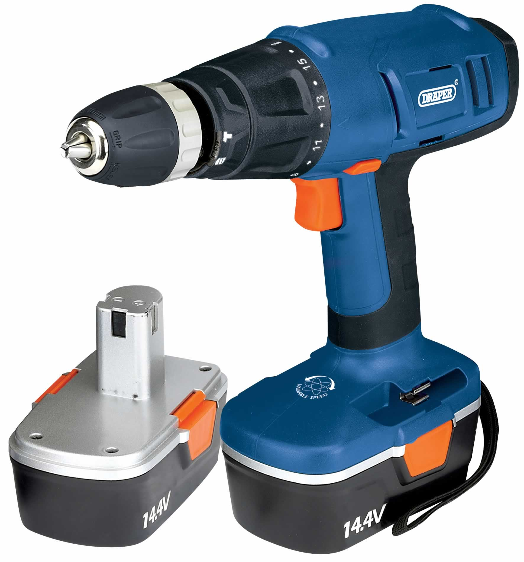 14.4V CORDLESS HAMMER DRILL WITH TWO BATTERIES