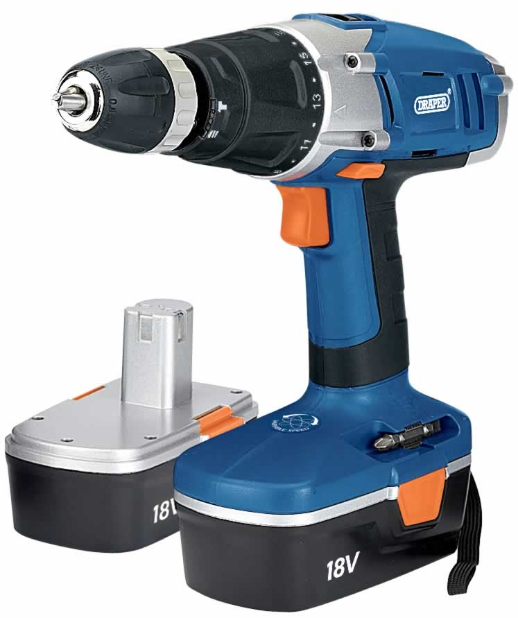 18V CORDLESS HAMMER DRILL KIT WITH TWO BATTERIES   (AHA)