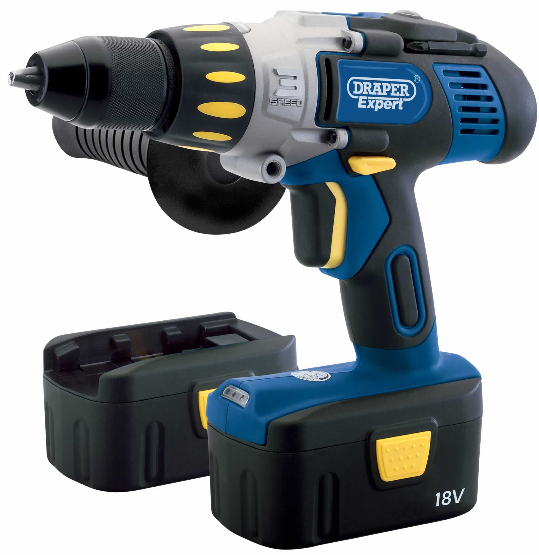 EXPERT 18V ELECTRONIC CORDLESS COMBINATION HAMMER DRILL WITH TWO Ni-CD BATTERIES  (AHA)