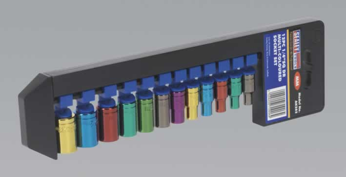 "Multi-Coloured Socket Set 12pc 1/4""Sq Drive Metric"