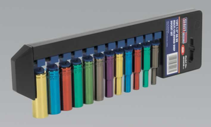 "Multi-Coloured Deep Socket Set 12pc 1/4""Sq Drive Metric"