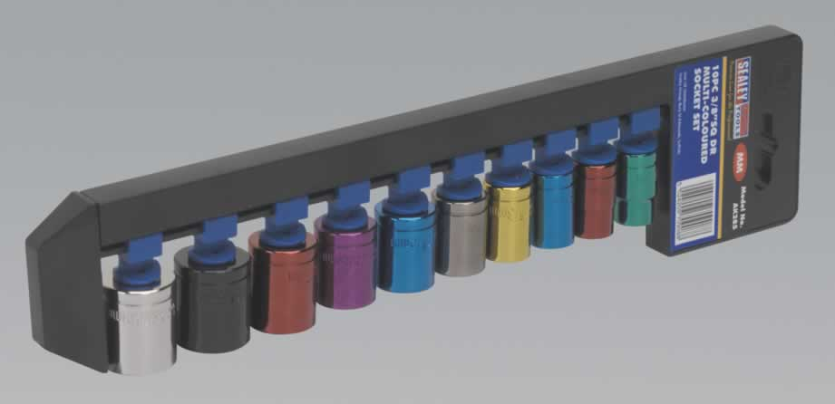 "Multi-Coloured Socket Set 10pc 3/8""Sq Drive Metric"