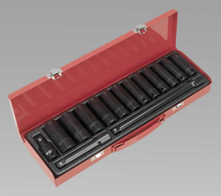 "Impact Socket Set 15pc 1/2""Sq Drive Deep Metric"