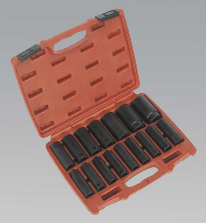 "Impact Socket Set 16pc 1/2""Sq Drive Deep Metric"