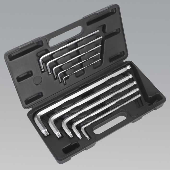Extra-Long TRX-Star/Ball-End Hex Key Set 10pc Metric