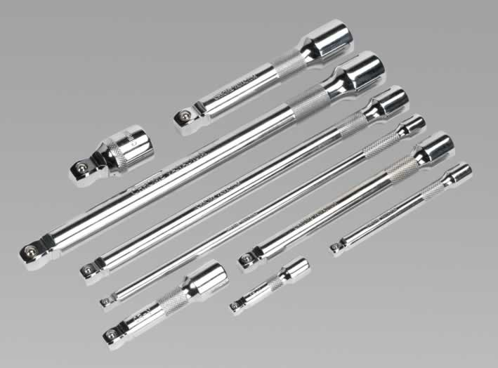 "Combination Wobble/Rigid Extension Bar Set 9pc 1/4"", 3/8"" & 1/2""Sq Drive"