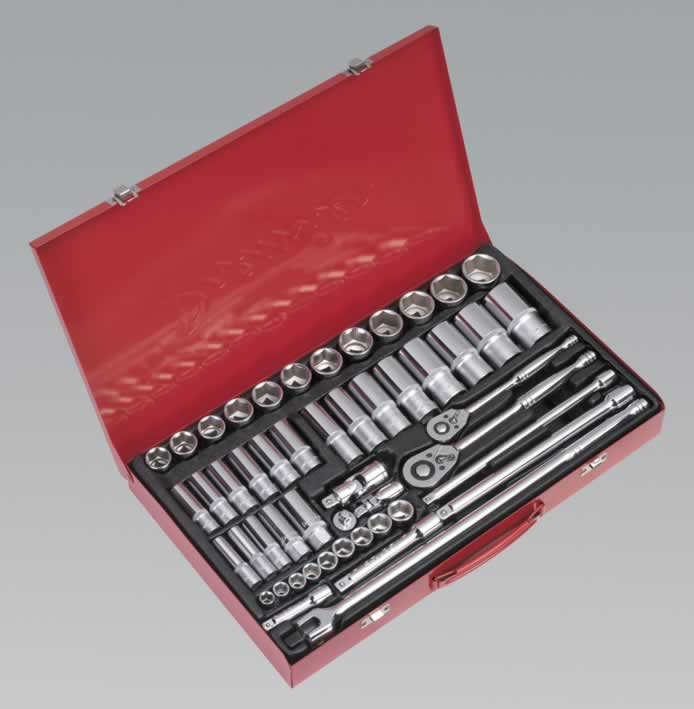 "Socket Set 50pc 3/8"" & 1/2""Sq Drive Metric"