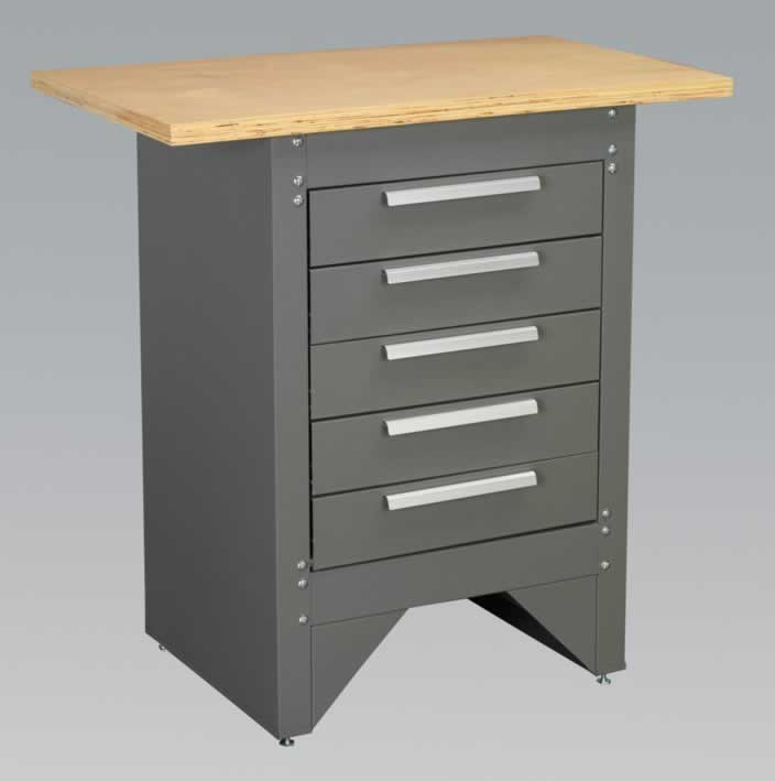 Workstation with 5 Drawers - Ball Bearing Runners Heavy-Duty