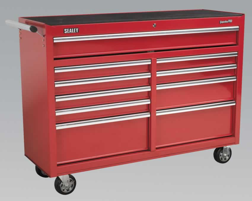 Rollcab 10 Drawer with Ball Bearing Runners Heavy-Duty - Red