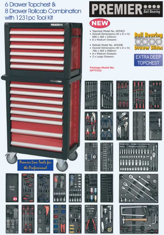 14 Drawer Topchest & Rollcab Combination with 1231pc Tool Kit  (AHA)