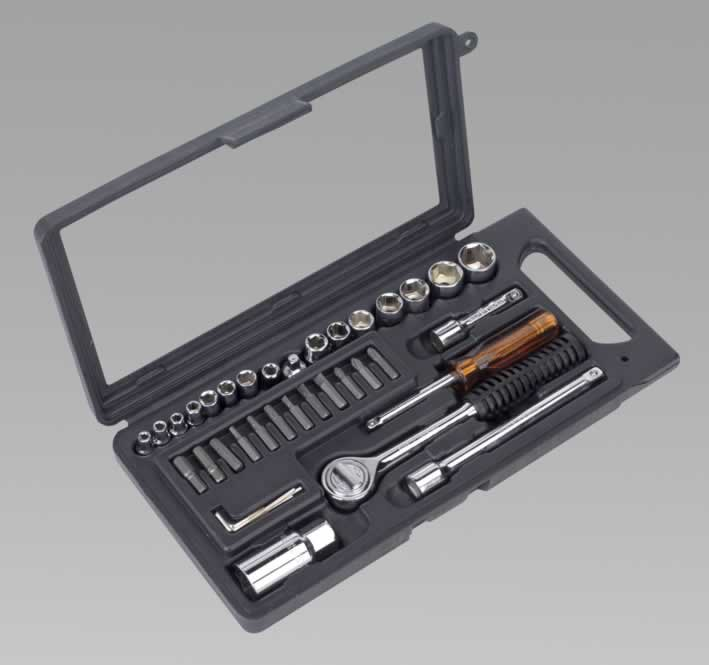 "Socket Set 36pc 1/4"" & 3/8""Sq Drive Metric"