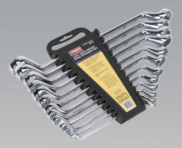 Deep Offset Ring Spanner Set 12pc