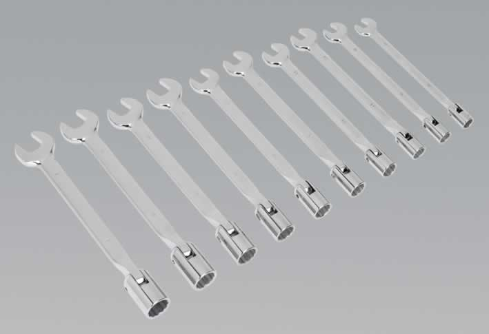 Flexi-Head Socket/Open End Spanner Set 10pc Metric