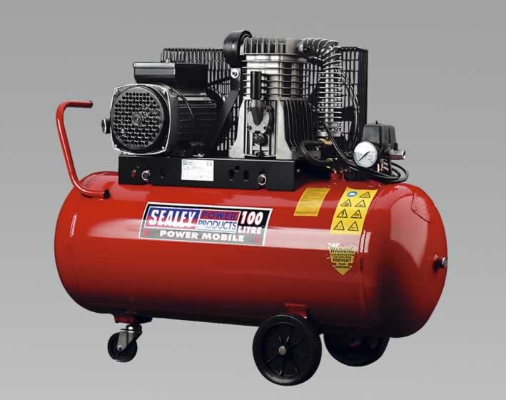 Compressor 100ltr Belt Drive 3.0hp with Alloy Cylinders & Wheels