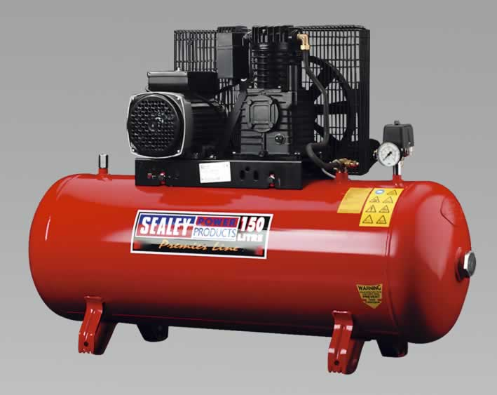 Compressor 150ltr Belt Drive 3.0hp with Cast Iron Cylinders