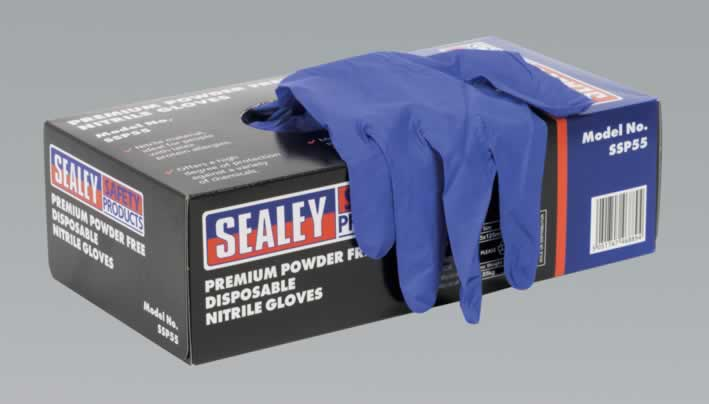 Premium Powder Free Disposable Nitrile Gloves Large Pack of 100