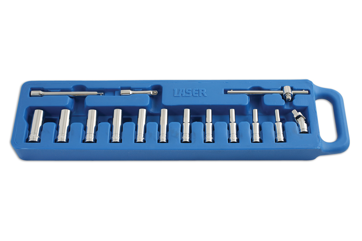 "Deep Socket Set - 1/4""D mm 15pc  (7-20)"